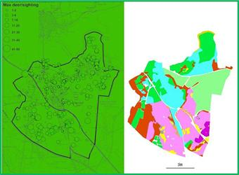 Deer sightings (left) and habitats (right) mapped by residents of a local UK community.